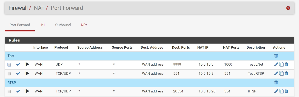 PFSense RTSP UDP not working with Static Port Force Rewrite