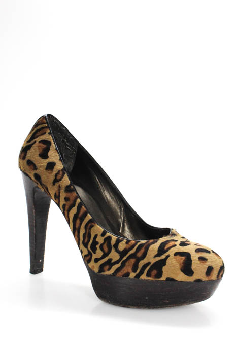 1ec0f6ba8c11 Details about Stuart Weitzman Brown Black Animal Print Calf Hair Pumps Size  8 Medium