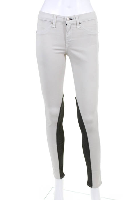 Beige leather skinny jeans
