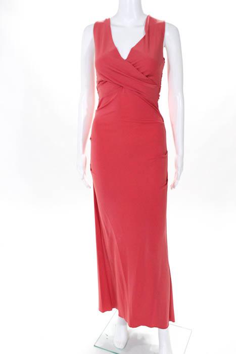 Nicole Miller Pink V Neck Sleeveless Yucatan Coast Gown 420 Size 4 ...