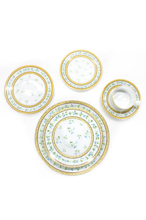 Limoges White Green Porcelain Ceralene A Raynaud 77Piece MorningGlory Dinner Set  sc 1 st  eBay : limoges white porcelain dinnerware - pezcame.com