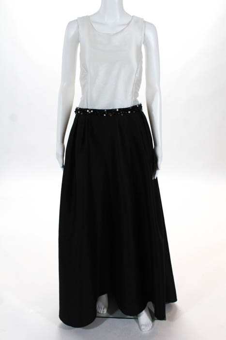 ML Monique Lhuillier Black White Jadore Contrast Gown $598 Size 14 ...