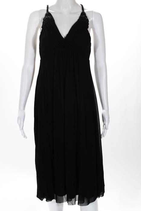 Vivienne-Tam-Black-Pleated-Wooden-Bead-V-Neck-A-Line-Dress-Size-0-NEW