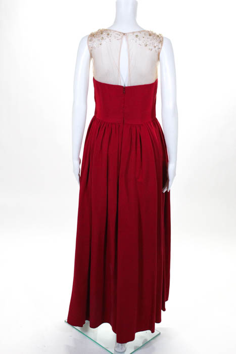 28c2cda1 Marchesa Notte Red Beige Mesh Sequined Precision Gown 1295 Size 6 ...