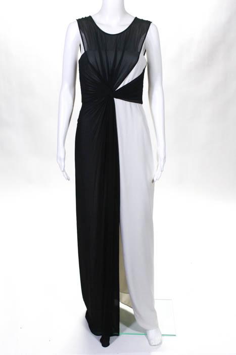 BCBG Max Azria Black White High Bar Gown Size 4 $398 10218518 | eBay