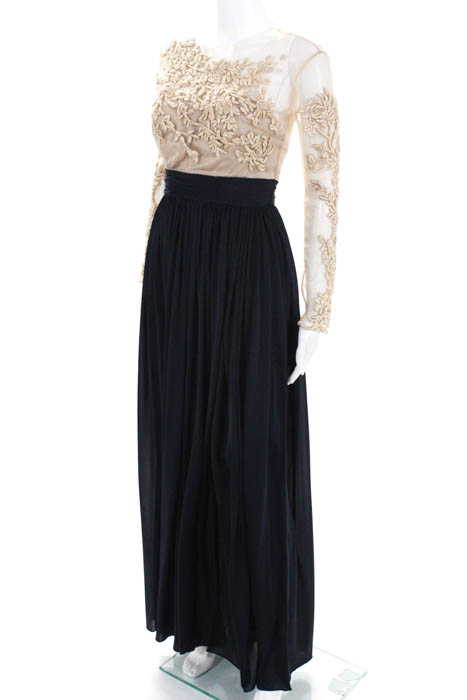 Catherine Deane Navy Blue Gold Tone Patricia Gown New $1540 Size 4 ...