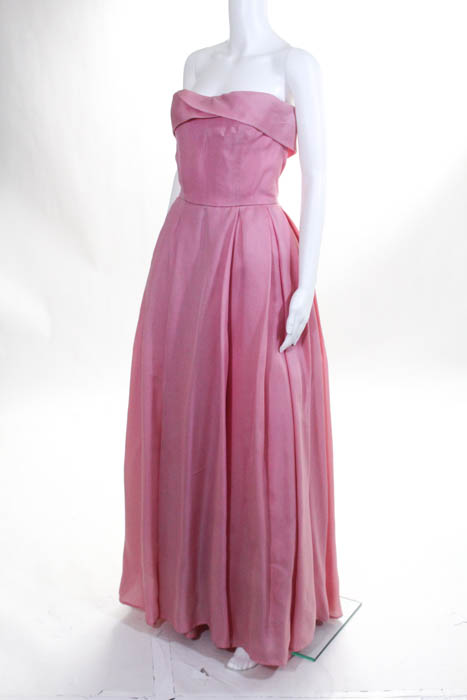 Reem Acra Pink Strapless Cherry Blossom Gown Size 6 $4995 10184287 ...