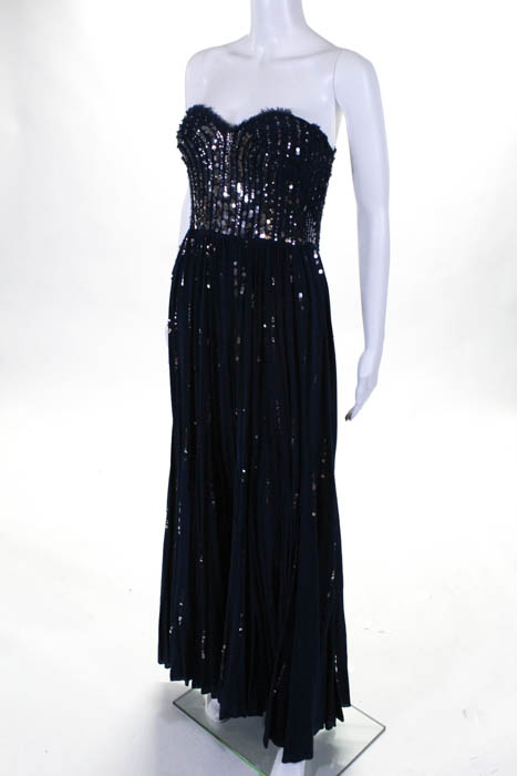 Rebecca Taylor Navy Silver Sequined Meteor Shower Gown Size 6 $925 ...