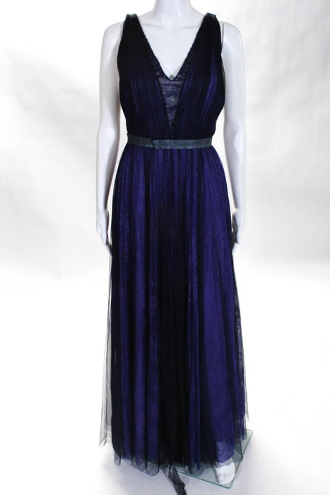 ML Monique Lhuillier Purple Black Cassidy Gown Size 10 $998 10240278 ...