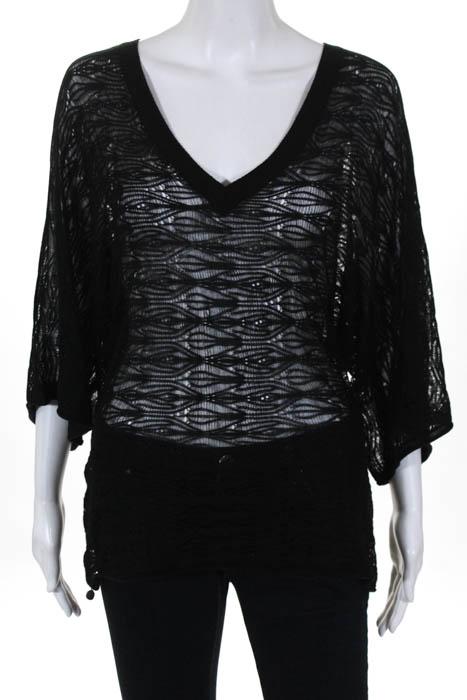 Babakul Black V Neck 34 Length Sleeve Open Knit Sweater Top Size