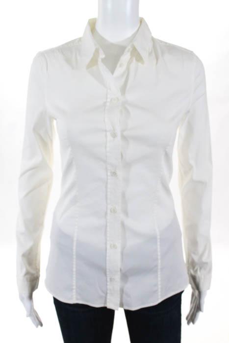 Prada White Stretch Cotton Long Sleeve Button Down Shirt Italian ...