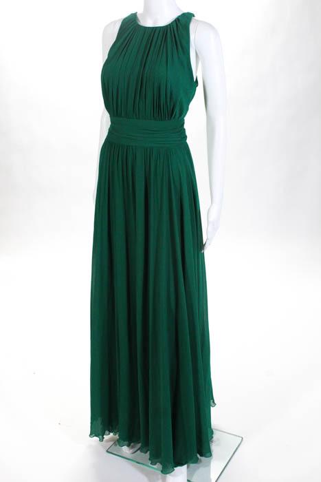Badgley Mischka Green Fluorite Emerald Gala Gown Size 10 $740 ...