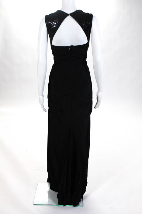 Nicole Miller Black Sleeveless Open Back Sequin Gown Size 10 $750 ...