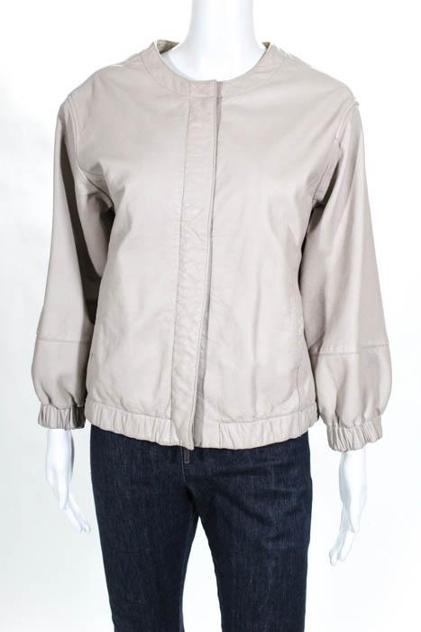 Vince-Beige-Leather-Long-Sleeve-Crew-Neck-Zip-Up-Ruffled-Jacket-Size-Medium