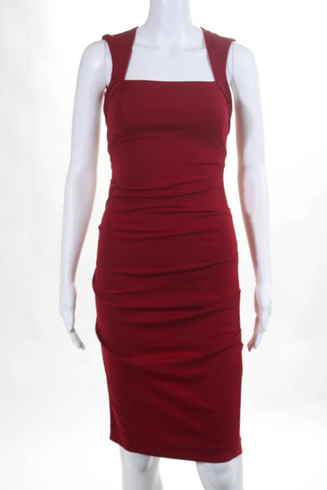 Nicole Miller Red Sleeveless On Closure Ruffle Tail Dress Size Pee