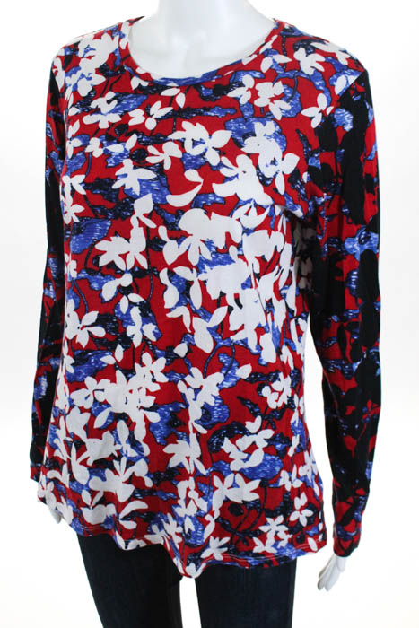 2c5ba43336d Details about Peter Pilotto For Target Red Cotton Floral Print Long Sleeve  Top Size Large