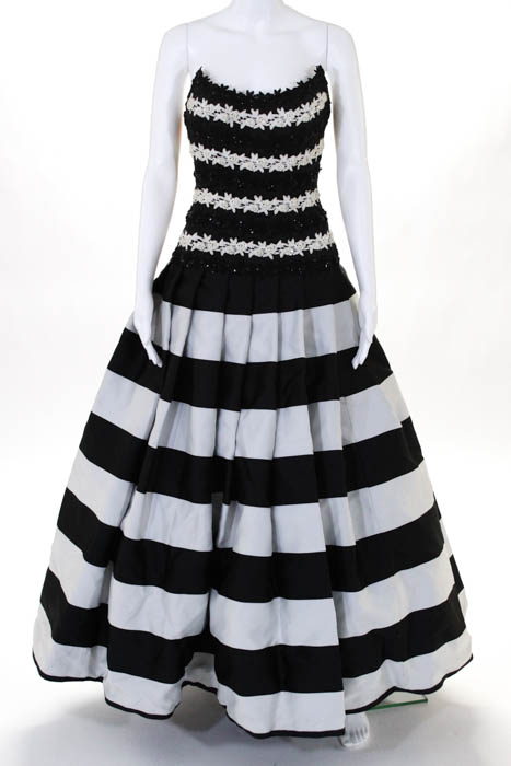 Chris Kole Black White Striped Beaded Embroidered Strapless Gown ...
