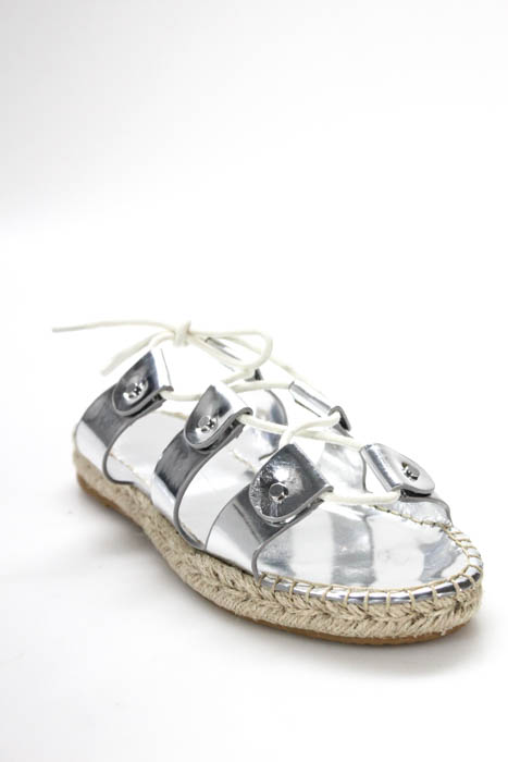 cfa40b2be3ffc2 Dolce Vita Silver Leather Vana Espadrilles Size 8.5 NEW MSRP  125 014250 IN  BOX