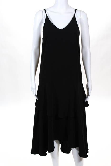 Jones New York Dress Black V Neck Sleeveless Size 8 Dress Mid Calf