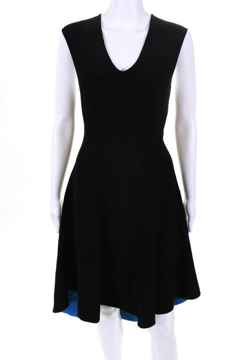 Milly Black Blue High Low Dress Size Large 375 10440019 Ebay