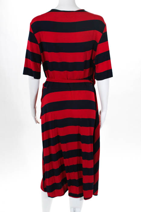 ba8890bb8771 Details about Tory Burch Navy Blue Red Striped Sara Wrap Dress $375 Size  Extra Large 10659877