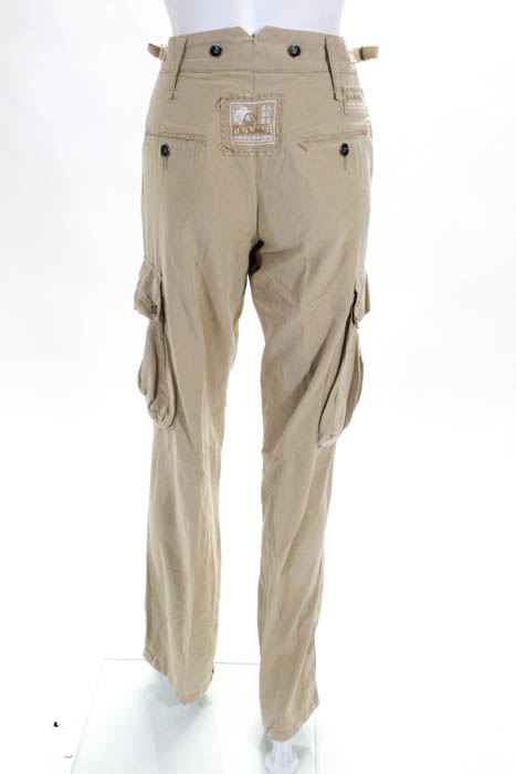 83b7ffc6b88 Details about DA Nang Beige Silk Blend Wide Leg Cargo Pants Size Small
