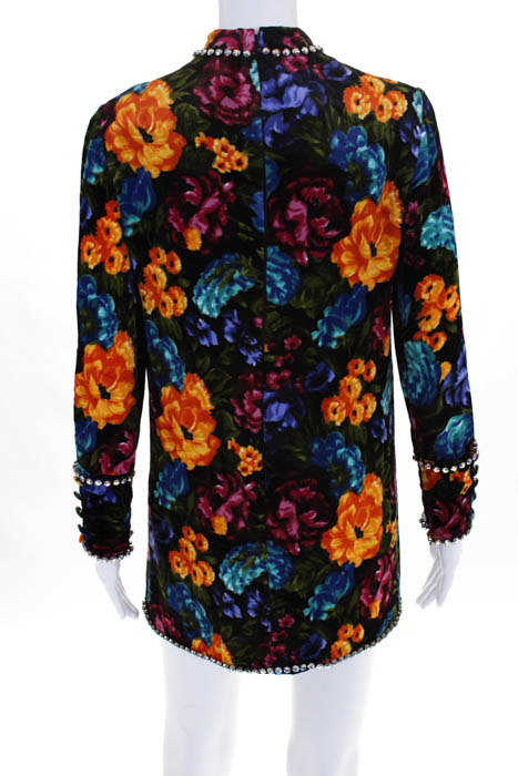 Gucci-Blue-Multicolored-Velvet-Floral-Crystal-Trim-Dress-Italian-38-NEW-4800