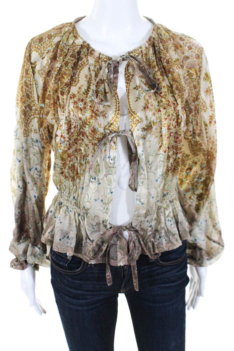 Etro Beige Silk Floral Sheer Double Tie Top Größe IT 40