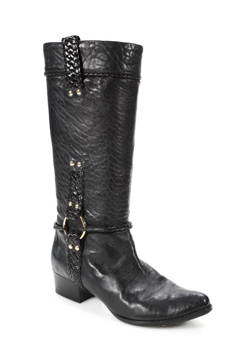 Fendi Black Leather Woven Bit Detail Pointed Toe Cowboy Boots Size 37.5 7.5