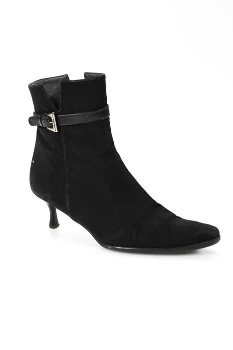 Stuart Weitzman Black Pointed Toe Buckle Detail Zip Up Heel Boots Size 10.5