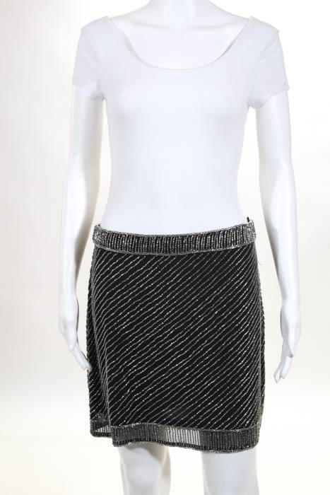 5380abb92de Yumi Kim Black Silver Zip Up Beaded Mini Skirt Size Small