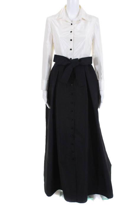 bae3759c50fbd Carolina Herrera White Black Belted Silk Taffeta Trench Gown Size 6 New   4690