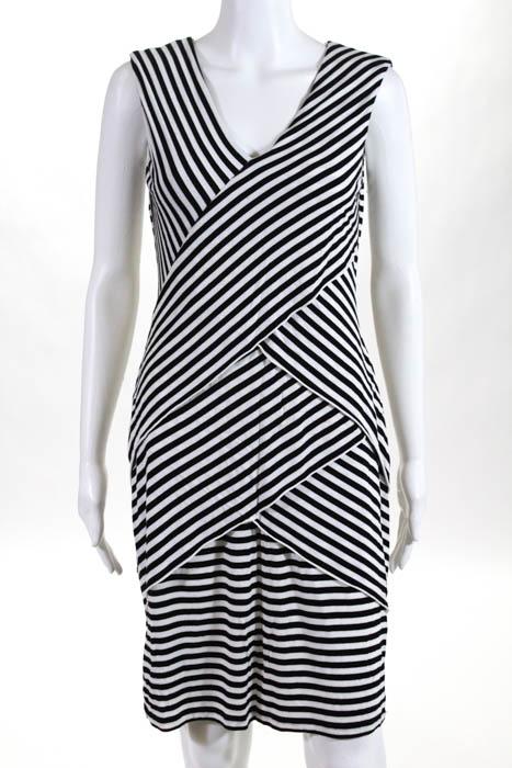8267d9956b43 Calvin Klein Black White Striped V Neck Sheath Dress Size 6 | eBay