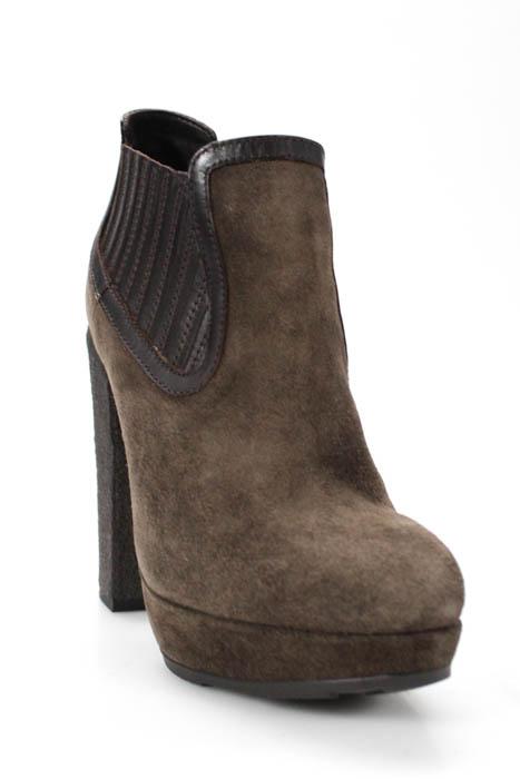 Moncler Brown Suede Platform High Block Heel Ankle Boots Size 36 6