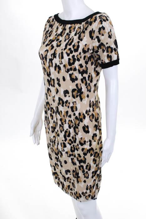 697af1bf34 Blugirl Blumarine Tan Brown Black Animal Print Shift Dress Size ...