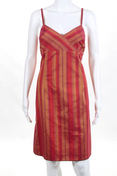 9424312f2b2f Escada Sport Orange Coral Stripe Print Empire Waist Lined Dress Size ...