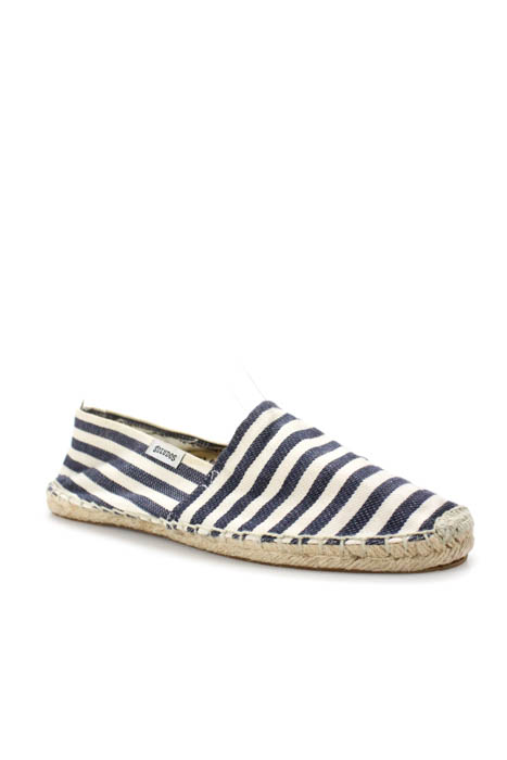 c66c6927fb1 Soludos White Navy Blue Canvas Striped Espadrilles Flats Size 39 9 ...
