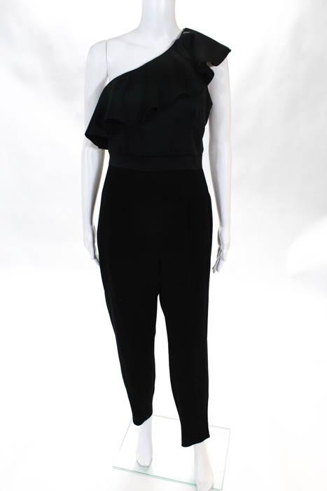 Cynthia Rowley Black Ruffle Shoulder Jumpsuit $398 Size 6 ...