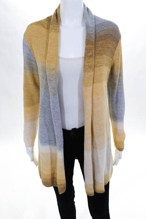 Nic Zoe Mustard Yellow Grey Ombre Open Front Cardigan Sweater Sz