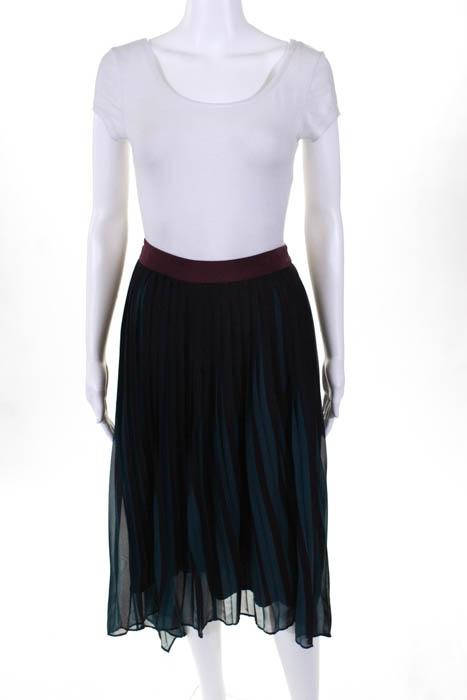 By Malene Birger rot Grün Contrast Farbeblock Pleat Skirt Small  525 10403179