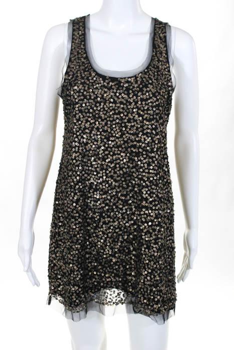 1ca9e24e0644c Gryphon New York Black Gold Sequined Embellished Shift Dress Size ...