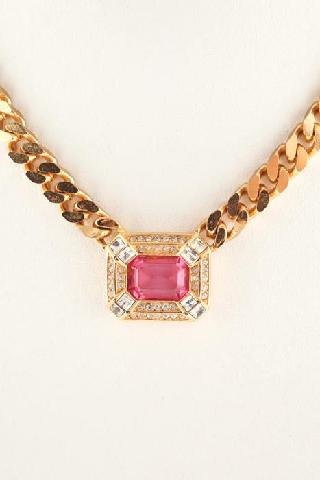"""Christian Dior 16"""" 18k Plaqué Or Rose Cristal Saphir Collier Nouveau-afficher Le Titre D'origine Le Plus Grand Confort"""