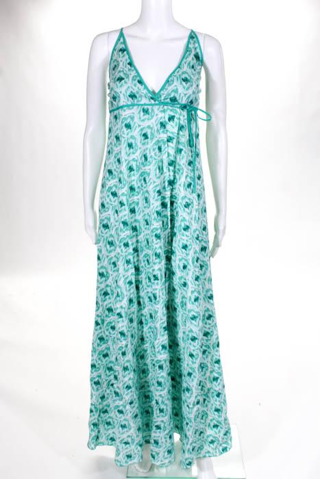 7b52390db42c Nimo With Love Green Cotton Geometric Print Wrap Maxi Dress Size Extra  Small NEW