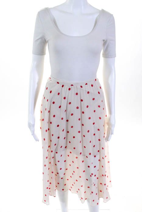 5ac6b6f78 BB Dakota Beige Red Polka Dot Ginerva A Line Skirt $95 Size 10 10639292