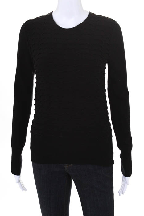 Stefanel Black Long Sleeve Crew Neck Sweater Size Medium  481d5dcd15109