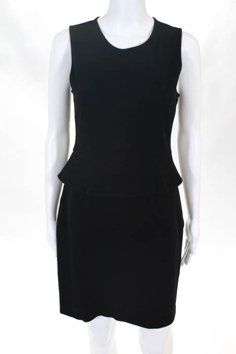 209e1b078809 Theory Black Sleeveless Knee Length Dellera Peplum Dress Size 8   eBay