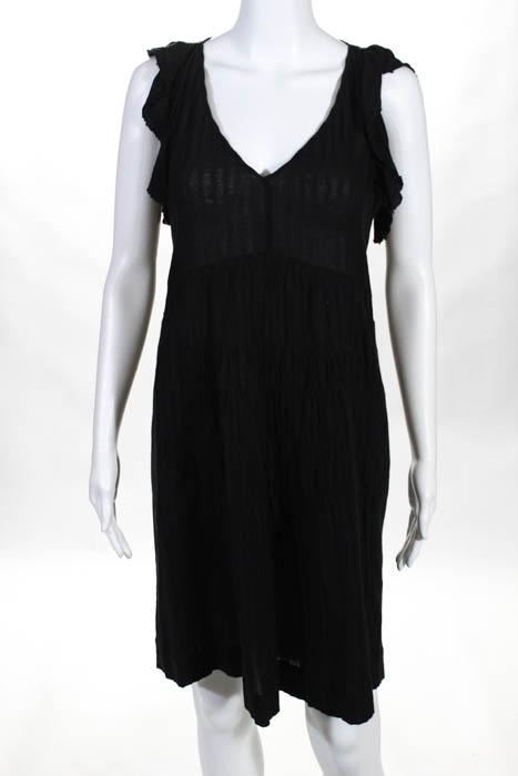 Masscob Black Cotton V Neck Ruffle Sleeve A Line Dress Size Small