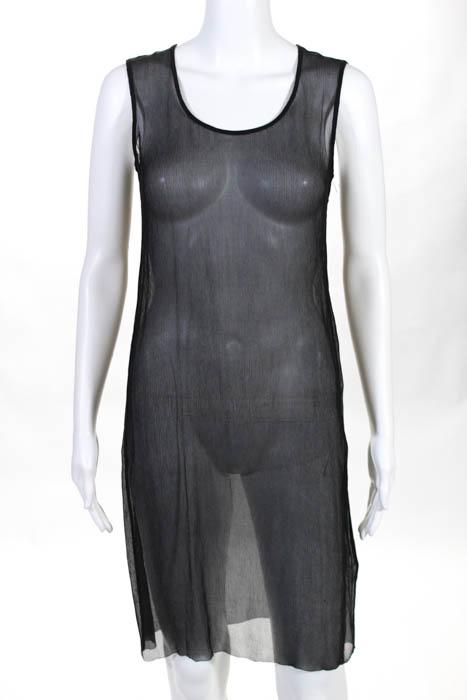 Ports Black Sheer Silk Sleeveless Scoop Neck Side Slit Dress Size 0