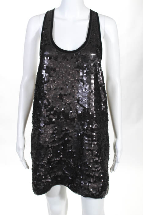Elizabeth and James Black Sequin Embellished Sleeveless Dress Size Extra Small