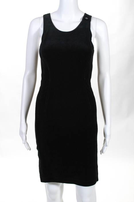 Philosophy di Alberta Ferretti Black Cotton Crew Neck Sleeveless Dress Size 4
